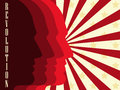Revolution poster. Background with people and red stripes. Vector