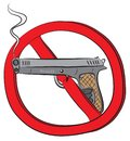 Revolver gun not allowed sign Royalty Free Stock Photo