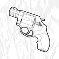 Revolver gun outline on white Stock Images