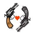 Revolvers hand drawing of classic hand guns Stock Photo