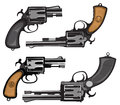 Revolvers hand drawing of classic hand guns Stock Image