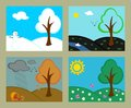 Revolving seasons the same landscape from autumn winter spring and summer the change of Royalty Free Stock Photography