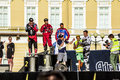 Rewarding winners at adrenaline rush moto freestyle show on the st peterburg rossiya july palace square in st petersburg Royalty Free Stock Image