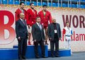 Rewarding the winners russia moscow march unidentified prize and honoured guests on world sambo championship kharlampiev memorial Stock Photos