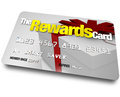 The rewards credit card earn refunds and rebates a with name a present shown on it illustrating benefits you can Royalty Free Stock Image