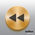 Rewind back golden button with black symbol Royalty Free Stock Photo