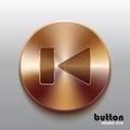 Rewind previous bronze button Royalty Free Stock Photo