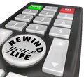 Rewind your life fix correct problem redo bad decision words on a remote control to a or a choice or in career job or personal Royalty Free Stock Image