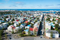 Reykjavik city view from the top of hallgrimskirkja church ice aerial iceland Royalty Free Stock Photos