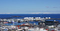 Reykjavik harbour and city panorama of the capital of iceland taken from the hallgrimmskirkja Royalty Free Stock Images