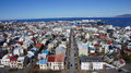 Reykjavik harbour and city panorama of the capital of iceland taken from the hallgrimmskirkja Stock Photo