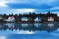 Reykjavik lake houses Royalty Free Stock Photo