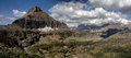 A reynolds mtn panorama this image show side of mt in glacier national park that is not easily seen by park visitors Stock Photography