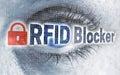 RFID blocker eye with matrix looks at viewer concept