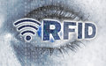 RFID eye with matrix looks at viewer concept Royalty Free Stock Photo