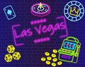 stock image of  Las Vegas magenta lettering. Vector with casino icons on blue wall background.