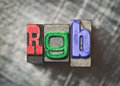 Rgb letters with vintage grunge letterpress type Stock Image