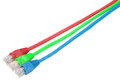 RGB. Macro close-up RJ45 network plugs red blue and green Royalty Free Stock Photo