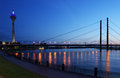Rhine river in dusseldorf germany night view to Stock Image
