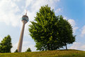 Rhine tower in düsseldorf with trees the germany on a hill Royalty Free Stock Images