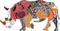 Rhino in africa ethnic ornaments Royalty Free Stock Photo
