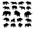 Rhino Animal Silhouettes Royalty Free Stock Photo