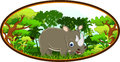 Rhino cartoon with forest background illustration of Stock Images