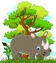 Rhino cartoon with forest background illustration of Royalty Free Stock Photos
