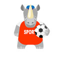 Rhino football player illustration of on white background Stock Photography