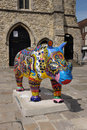 Rhino parade southampton uk july locally decorated sculptures on display in southampton to raise awareness of the plight of rhinos Royalty Free Stock Image