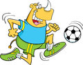 Rhino playing soccer Stock Image