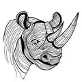 Rhino rhinoceros animal head as symbol for mascot or emblem design logo vector illustration for t shirt sketch tattoo design Royalty Free Stock Images