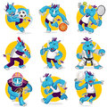 Rhino sports mascot collection set an illustration of blue using gear and doing useful as icon illustration and background for Stock Images