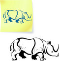 Rhinoceros drawing on post it note Stock Photography