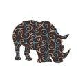 Rhinoceros mammal color silhouette animal