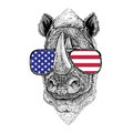 Rhinoceros, rhino Hand drawn illustration for tattoo, emblem, ba