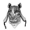 Rhinoceros, rhino Wild animal wearing biker motorcycle aviator fly club helmet Illustration for tattoo, emblem, badge