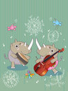 Rhinos music eps illustration of play drum and violin card this file info version illustrator document inches width height Royalty Free Stock Photos