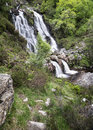 Rhiwargor waterfall landscape in snowdonia national park during falls north wales Stock Photo