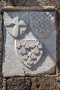 Rhodes code of arms a on the wall a medieval building in the knights street island greece Stock Image
