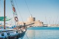 Rhodes fortress of saint nicholas mandraki harbour greece Stock Photography