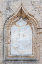 Rhodes island bas relief a white marble religious on a wall of a medieval construction in greece Royalty Free Stock Photos