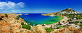 Rhodes island greece panoramic view of lindos bay Stock Photo