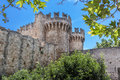 Rhodes island medieval city the fortified walls protecting the of in the greece Royalty Free Stock Photos