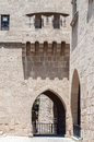 Rhodes island medieval city the fortified walls protecting the of in the greece Stock Photo