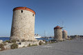 Rhodes Mandraki harbour wing mills. Greece