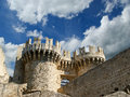 Rhodes medieval knights castle palace greece island a symbol of of the famous grand master also known as castello in the town of Stock Images