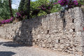 Rhodes medieval wall a stone with purple flowers in island greek islands Royalty Free Stock Images