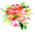 Rhododendron flower original watercolor painting Stock Photos