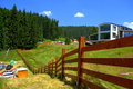 Rhodope mountains estate wooden fence of new hotel in near pamporovo resort Stock Photos